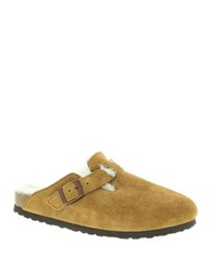 Birkenstock Boston Shearling Lined Suede Clogs Brown