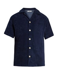 Hecho Short Sleeved French Terry Towelling Shirt Navy