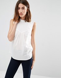 Warehouse Sleeveless Asymmetric Ruffle Shirt White