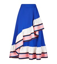 Emilio Pucci Cady Silk Ruffle Midi Skirt Female Multi