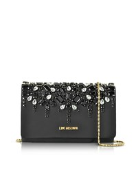 Love Moschino Satin And Crystals Evening Clutch W Chain Black