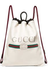 Gucci Printed Textured Leather Backpack White