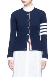 Thom Browne Stripe Sleeve Button Cashmere Cardigan Blue