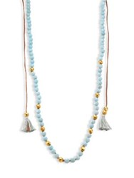 Chan Luu Tasseled Amazonite Long Necklace Light Blue