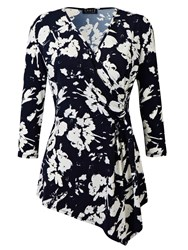 Grace Made In Britain Floral Top Navy
