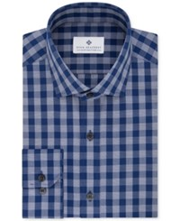 Ryan Seacrest Distinction Men's Slim Fit Non Iron Blue Check Dress Shirt Only At Macy's Dark Blue