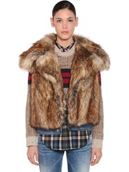 Dsquared Faux Fur Vest Beige
