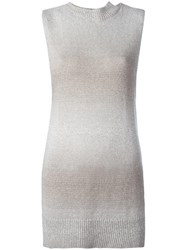 Lamberto Losani High Neck Knitted Tank Nude Neutrals