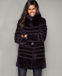 The Fur Vault Striped Lamb Fur Coat Purple