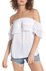 Socialite Women's Crochet Off The Shoulder Top White