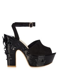 Sophia Webster Harmony Butterfly Applique Platform Sandals Black