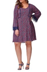 Addition Elle Love And Legend Plus Size Women's Bell Sleeve Floral A Line Dress