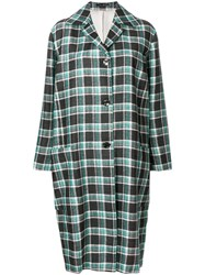 Paul Smith Check Cocoon Coat Green
