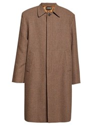 Balenciaga Houndstooth Check Wool Overcoat Brown