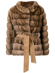 Liska Belted Fur Jacket Brown