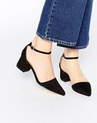 Truffle Collection Molly Ankle Strap Point Mid Heeled Shoes Black Mf