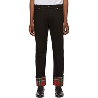 Alexander Mcqueen Black Bull Denim Check Jeans