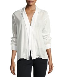 3X1 Moxy Cotton Blend Wrap Shirt White
