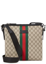 Gucci Gg Taupe Canvas Messenger Bag Beige