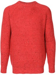 Guild Prime Flecked Ribbed Sweater Acrylic Nylon Lambs Wool Red