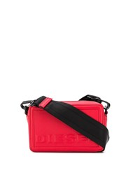 Diesel Square Cross Body Bag In Leather Red