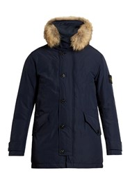 Stone Island David Tc Fur Trimmed Down Padded Parka Blue