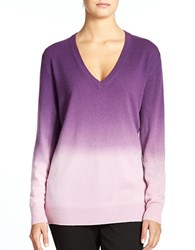 Lord And Taylor Cashmere V Neck Dip Dye Pullover Frosted Lilac