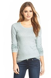 Petite Women's Caslon Long Sleeve Crewneck Cotton Tee Heather Grey Blue Stripe