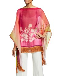 Etro Colorblocked Ombre Poncho Pink