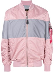 Alpha Industries Colour Block Bomber Jacket Pink And Purple