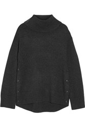 Rag And Bone Phyllis Wool Cashmere Blend Turtleneck Sweater Charcoal
