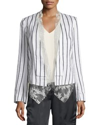 Foundrae Striped Linen Blend Jacket W Lace Vest White Linen Pinstripe