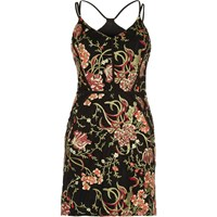 River Island Womens Red Embroidered Mesh Bodycon Dress