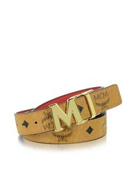 Mcm Color Visetos Cognac Red Coated Canvas Reversible Belt