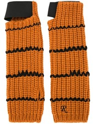 Raf Simons Contrast Knitted Gloves Yellow And Orange