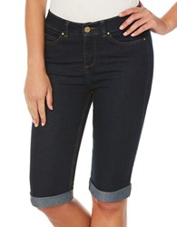 Rafaella Cuffed Capri Denim Pants Dark Indigo