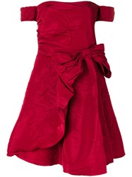 Red Valentino Off The Shoulder Bow Dress Women Polyester Acetate 38 Red