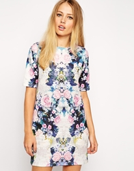 Asos T Shirt Dress In Textured Floral Mirror Print