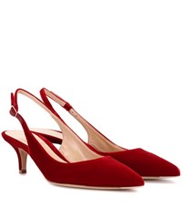 Gianvito Rossi Exclusive To Mytheresa.Com Jackie Velvet Sling Back Pumps Red