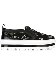Msgm Embroidered Slip On Sneakers Black