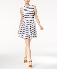 Maison Jules Striped Lace Fit And Flare Dress Only At Macy's Bright White Combo