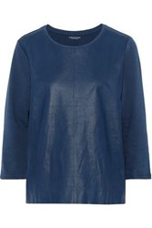 Majestic Filatures Leather And French Cotton Terry Sweatshirt Cobalt Blue