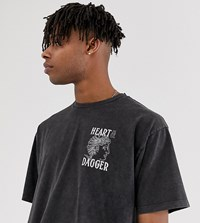 Heart And Dagger T Shirt With Acid Wash With Logo Back Print Green
