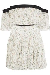 Giambattista Valli Off The Shoulder Ruffled Floral Print Silk Chiffon Mini Dress Ivory