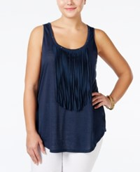 Jessica Simpson Plus Size Deedra Sleeveless Fringe Top Total Eclipse