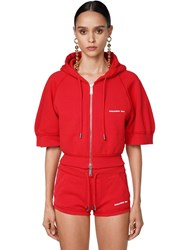 Dsquared Cropped Zip Up Jersey Top Red