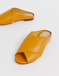 Aldo Rireviel Leather Cross Strap Sandals In Mustard Yellow