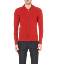 Reiss Jamison Zip Up Knitted Cardigan Brick
