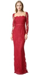 Marchesa Long Sleeve Lace Gown Red