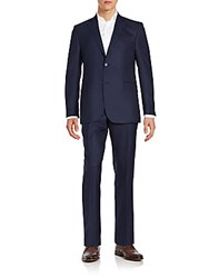 Saks Fifth Avenue Regular Fit Solid Wool Suit Navy